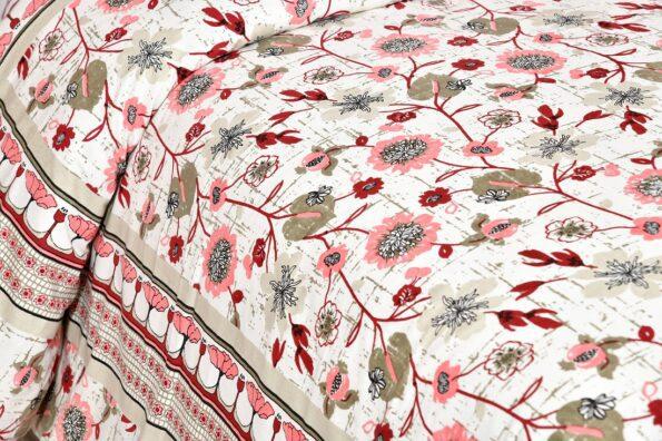 Jaipuri Pink Floral Print Double Bedsheet Sideview