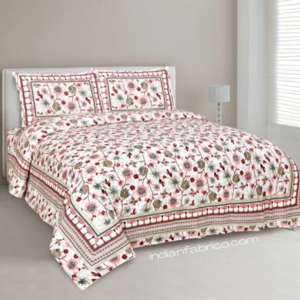 Jaipuri Pink Floral Print Double Bedsheet with Two Pillow Covers