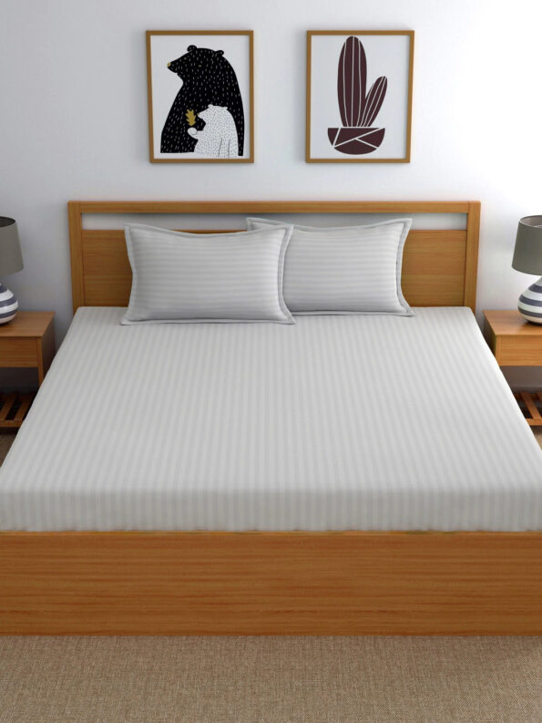 Light Grey Satin Pure Cotton King Size Bedsheet