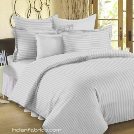Light Grey Satin Pure Cotton King Size Bedsheet with 2 Pillow Covers