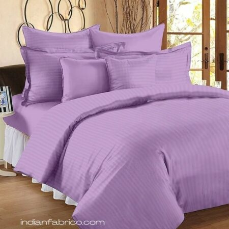 Light Purple Satin Pure Cotton King Size Bedsheet with 2 Pillow Covers