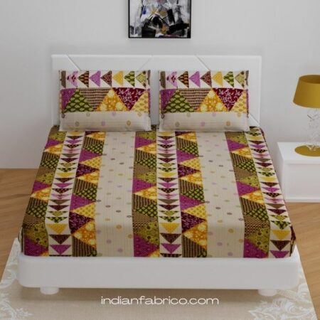 Patchwork King Size Fitted Bedsheet with Two Pillow Covers