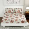 Pink Daffodil King Size Fitted Bedsheet with Two Pillow Covers
