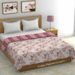 Pink Flowers Bunch Pure Cotton Reversible Double Bed Dohar