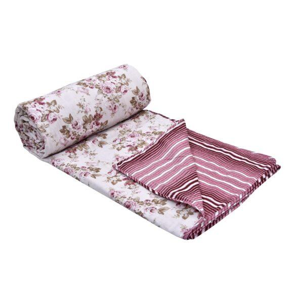Pink Flowers Bunch Pure Cotton Reversible Double Bed Dohar Closeup