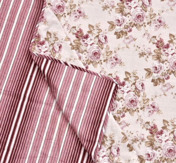 Pink Flowers Bunch Pure Cotton Reversible Double Bed Dohar Front View