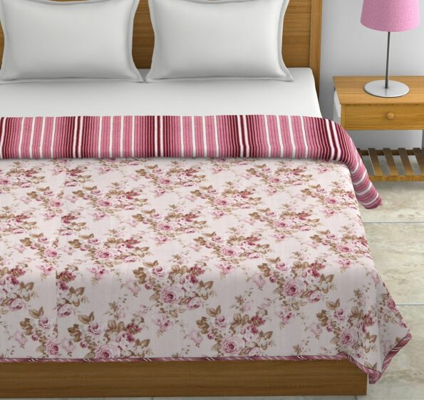 Pink Flowers Bunch Pure Cotton Reversible Double Bed Dohars