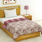 Pink Flowers Bunch Pure Cotton Reversible Single Bed Dohar