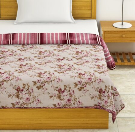 Pink Flowers Bunch Pure Cotton Reversible Single Bed Dohars