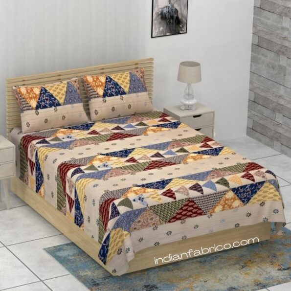 Premium Fabric Triangle Shape Single Bedsheet with Two Pillow Covers