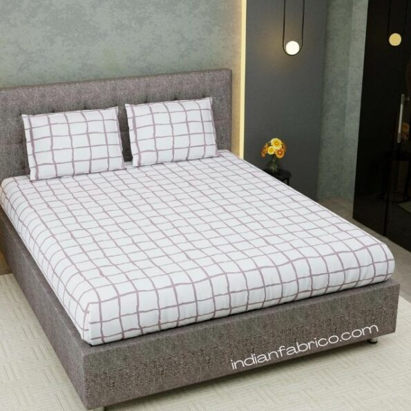 White Square Satin Cotton King Size Bedsheet with Two Pillow Covers