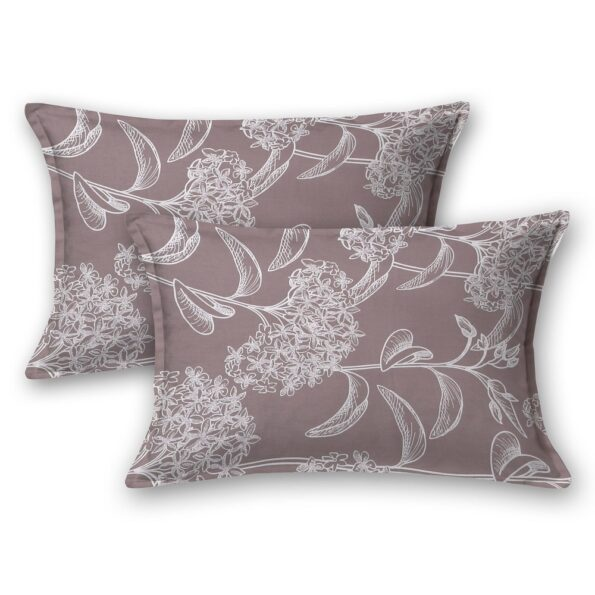 Decorous Grey Satin Cotton King Size Bedsheet Pillow Covers