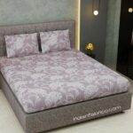 Decorous Grey Satin Cotton King Size Bedsheet with Two Pillow Covers