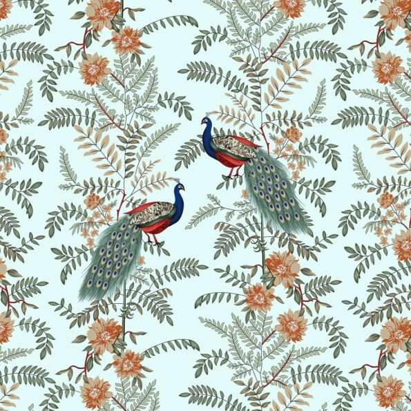 Fitted Sheet – Green Base Peacock Printed Fitted Bedsheet Closeup