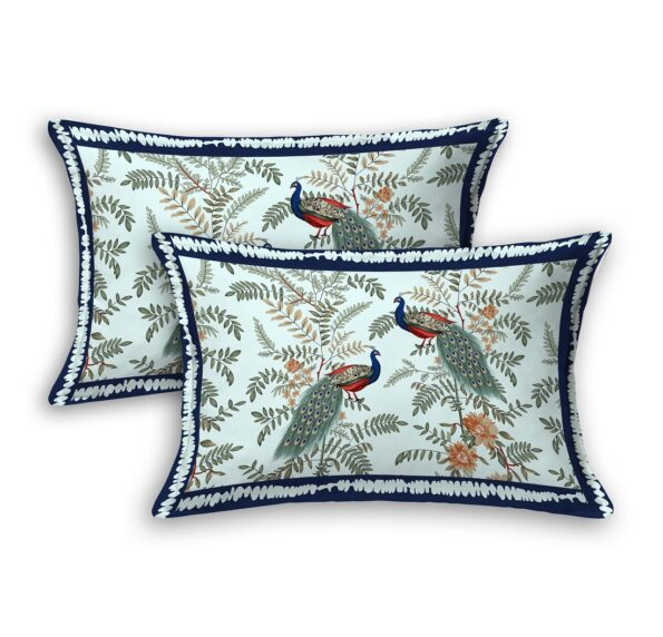 Fitted Sheet – Green Base Peacock Printed Fitted Bedsheet Pillow Covers