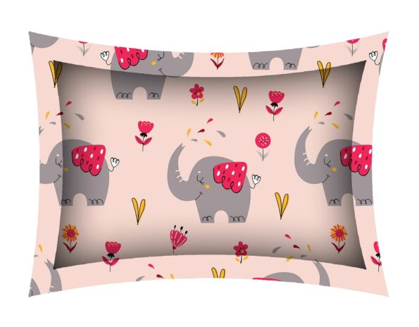 Fitted Sheet – Kids Baby Elephant Peach King Size Fitted Bedsheet Pillow Covers