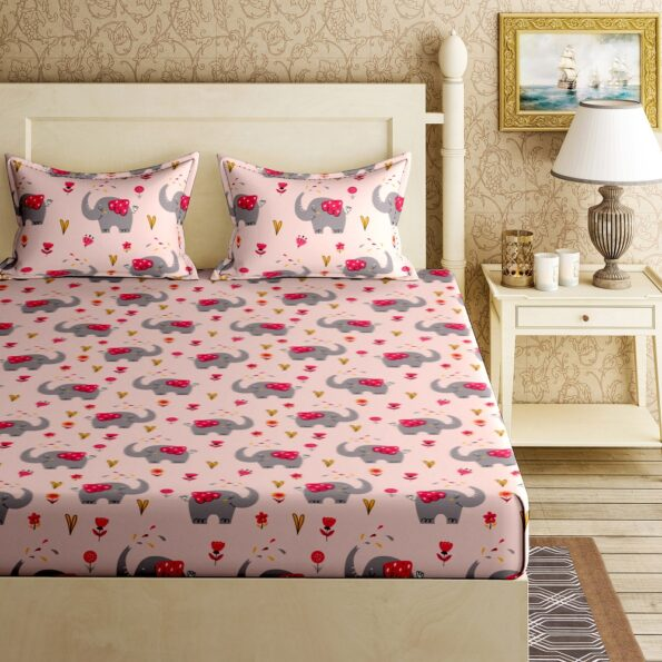Fitted Sheet – Kids Baby Elephant Peach King Size Fitted Bedsheet TopView
