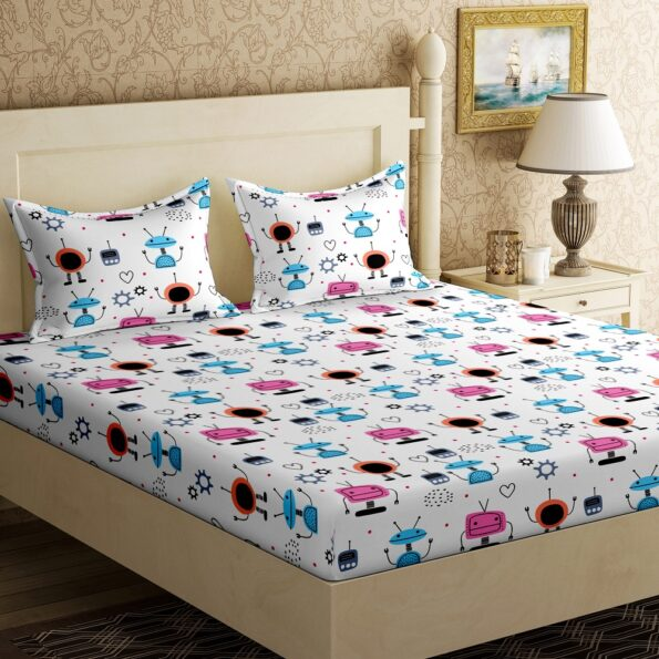 Fitted Sheet – Kids Colorful Robotics King Size Fitted Bedsheet Front View