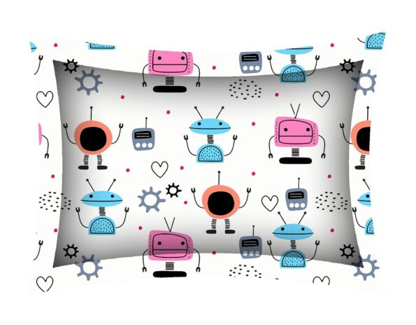 Fitted Sheet – Kids Colorful Robotics King Size Fitted Bedsheet Pillow Covers
