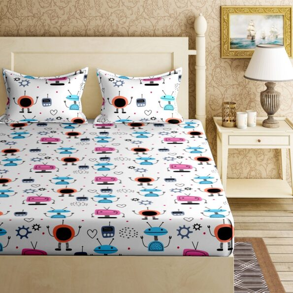 Fitted Sheet – Kids Colorful Robotics King Size Fitted Bedsheet Top view