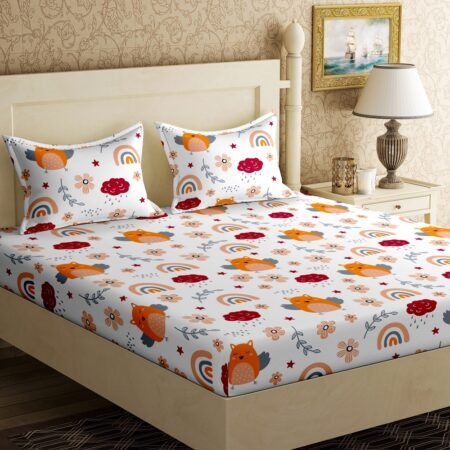 Fitted Sheet – Kids Orange Night Owl King Size Fitted Bedsheet Front View