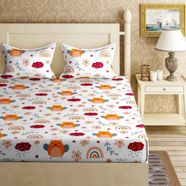 Fitted Sheet – Kids Orange Night Owl King Size Fitted Bedsheet Topview