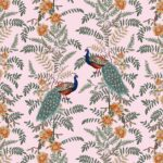Fitted Sheet – Pink Base Peacock Printed Fitted Bedsheet with Two Pillow Covers