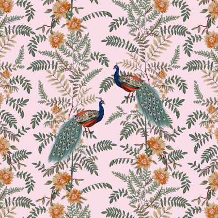 Fitted Sheet – Pink Base Peacock Printed Fitted Bedsheet Closeup