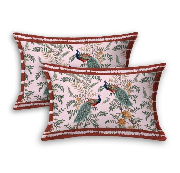 Fitted Sheet – Pink Base Peacock Printed Fitted Bedsheet Pillow Covers