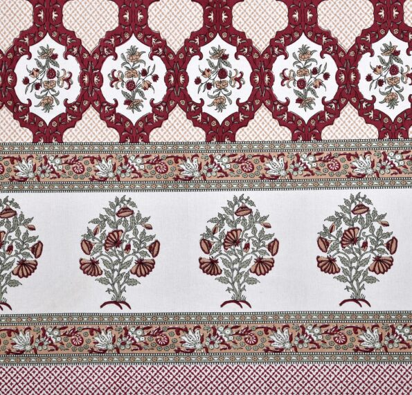 Fitted Sheet – Red Flower Print Fitted Bedsheet Closeup