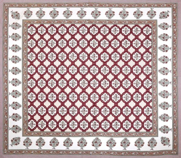 Fitted Sheet – Red Flower Print Fitted Bedsheet Full View
