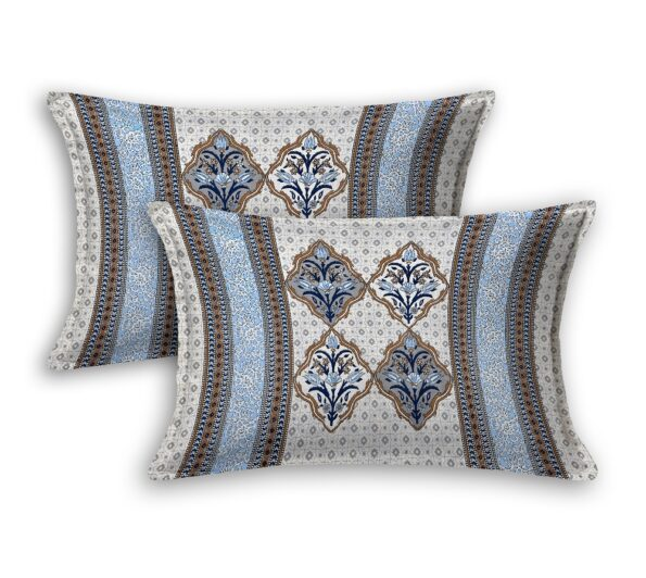 Fitted Sheet – Blue Flower Print Fitted Bedsheet Pillow Covers