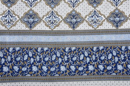 Fitted Sheet - Blue Flower Print Fitted Bedsheet Sideview