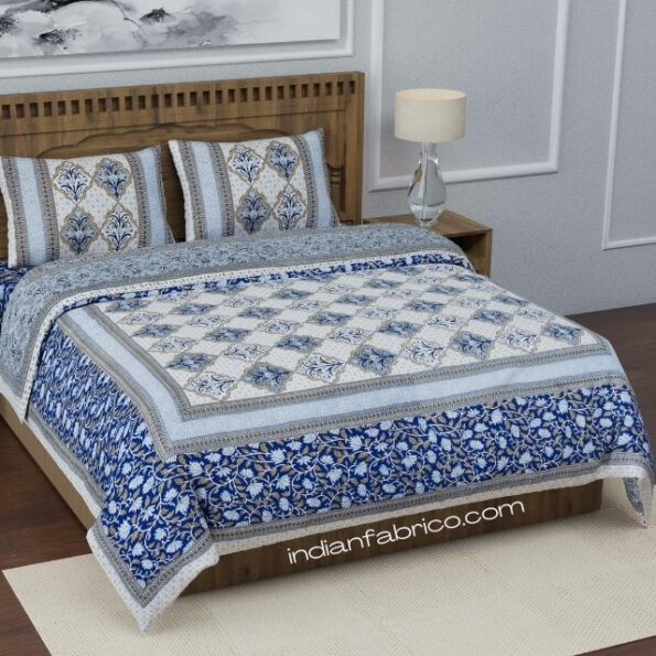 Fitted Sheet – Blue Flower Print Fitted Bedsheet with Two Pillow Covers