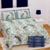 Fitted Sheet - Green Base Peacock Printed Fitted Bedsheet with Two Pillow Covers