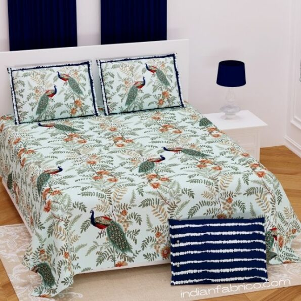 Fitted Sheet – Green Base Peacock Printed Fitted Bedsheet with Two Pillow Covers