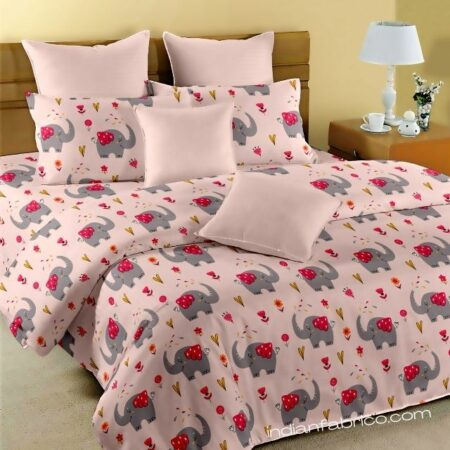 Fitted Sheet - Kids Baby Elephant Peach King Size Fitted Bedsheet
