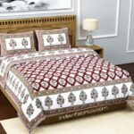 Fitted Sheet – Red Flower Print Fitted Bedsheet with Two Pillow Covers