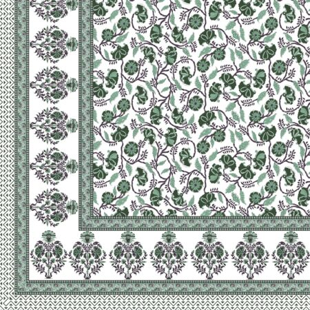 Fitted Sheet - Teal Floral Printed Fitted Bedsheet Closeup