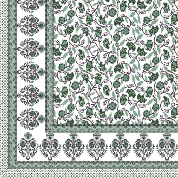Fitted Sheet – Teal Floral Printed Fitted Bedsheet Closeup