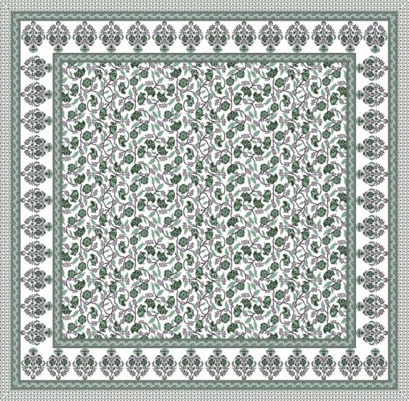 Fitted Sheet – Teal Floral Printed Fitted Bedsheet Full View
