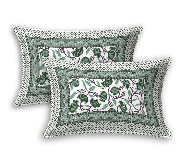 Fitted Sheet – Teal Floral Printed Fitted Bedsheet Pillow Covers
