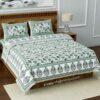 Fitted Sheet - Teal Floral Printed Fitted Bedsheet with Two Pillow Covers