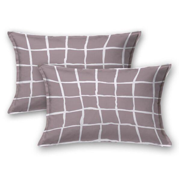 Grey Squares Mauve Satin Cotton King Size Bedsheet Pillow Covers