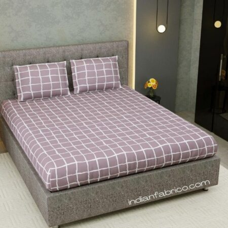 Grey Squares Mauve Satin Cotton King Size Bedsheet with Two Pillow Covers