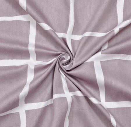 Grey Squares Mauve Satin Cotton King Size Bedsheets