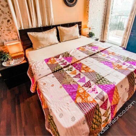 Pink Barmeri Pastel Pure Cotton Reversible Double Bed Dohar
