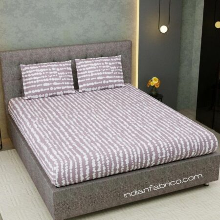 Scattered Pebbles Grey Satin Cotton King Size Bedsheet with Two Pillow Covers