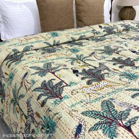 Beige African Savanna Kantha Double Bedspreads