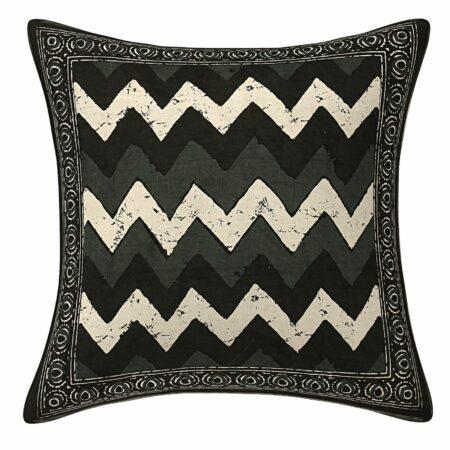 Black Indigo ZigZag Printed Cushion Covers